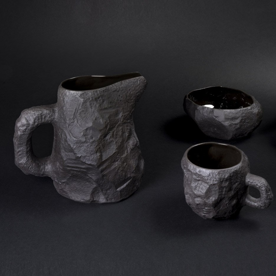 Crockery in Black Basalt by Max Lamb for 1882 Ltd