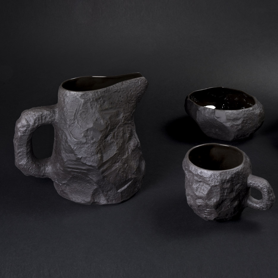 Max Lamb creates range of tableware from black basalt