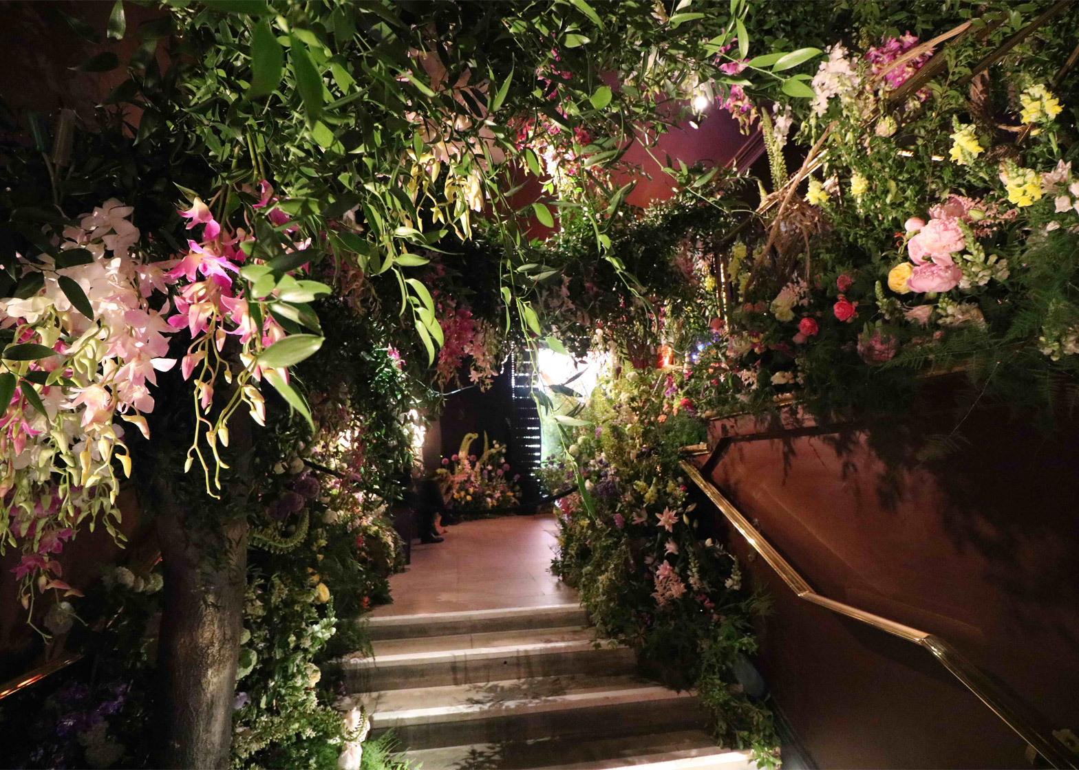 Sketch restaurant filled with floral installations for Flower Show