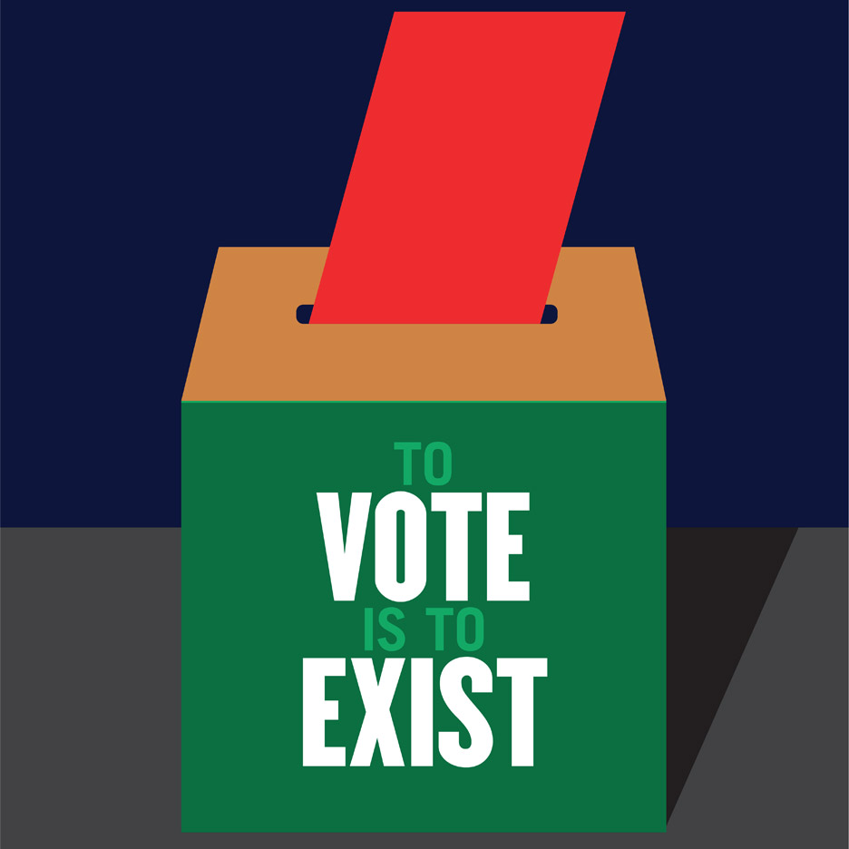 Milton Glaser's entry to Get Out the Vote, graphic design campaign for the presidential election