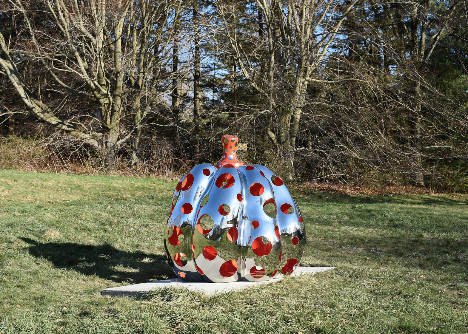 Narcissus Garden sculpture of mirrored spheres by Yayoi Kusama installed at Philip Johnson's Glass House in Connecticut
