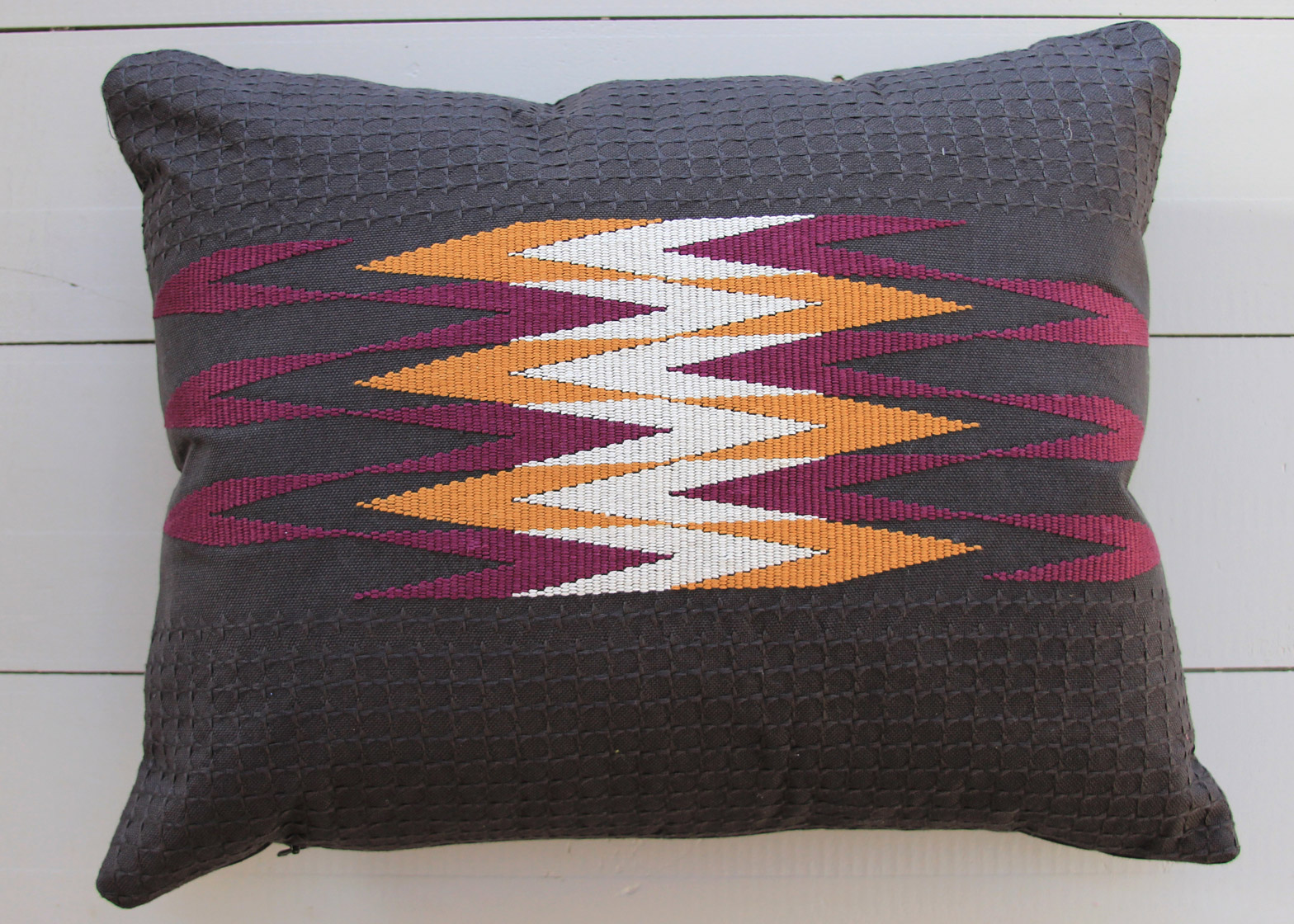 Handwoven cushion by Zohreh Adle-Ghadjar