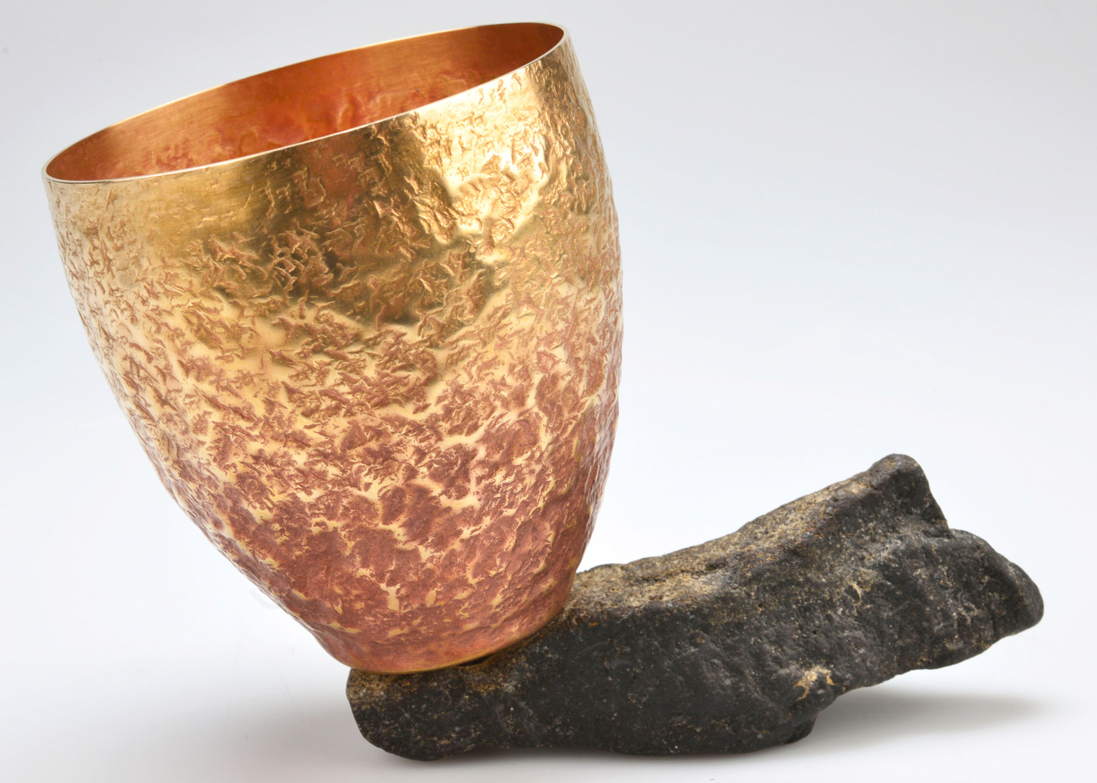 Spun and textured gilding metal vessel by Victoria Radcliffe