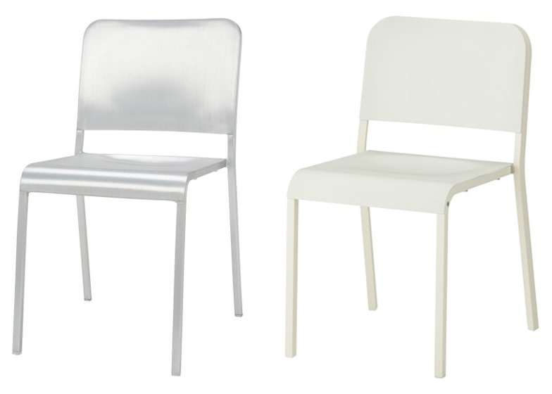 Norman Foster's 20-06 Stacking Chair for Emeco and Melltorp dining chair by Ola Wihlborg for Ikea