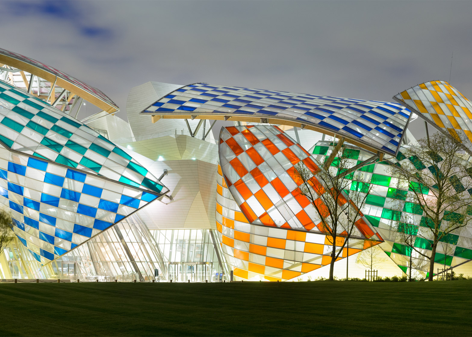 Observatory of Light multicoloured glass installation by Daniel Buren at the Fondation Louis Vuitton by Frank Gehry in Paris, France