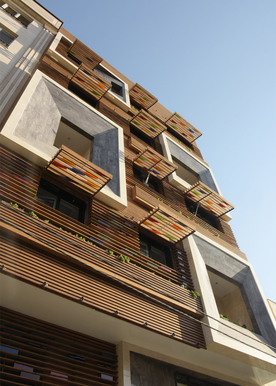 Tehran apartment block by Keivani Architects has stained glass windows