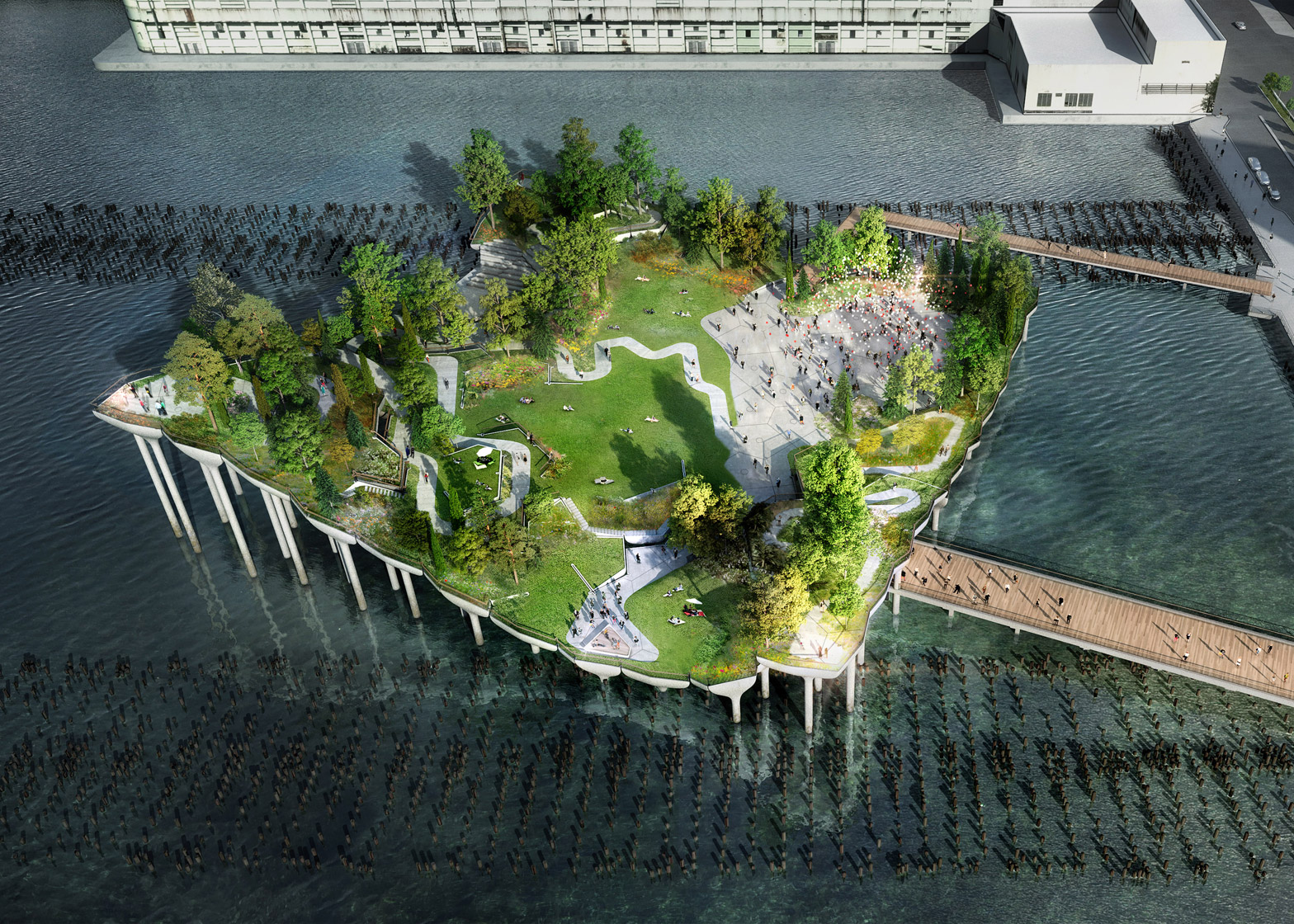 Heatherwick 39 s pier 55 to begin construction over hudson river for Landscape design new york