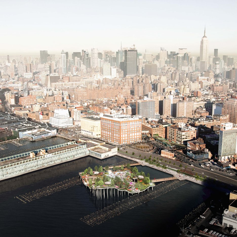 Thomas Heatherwick's Pier 55 over New York's Hudson River