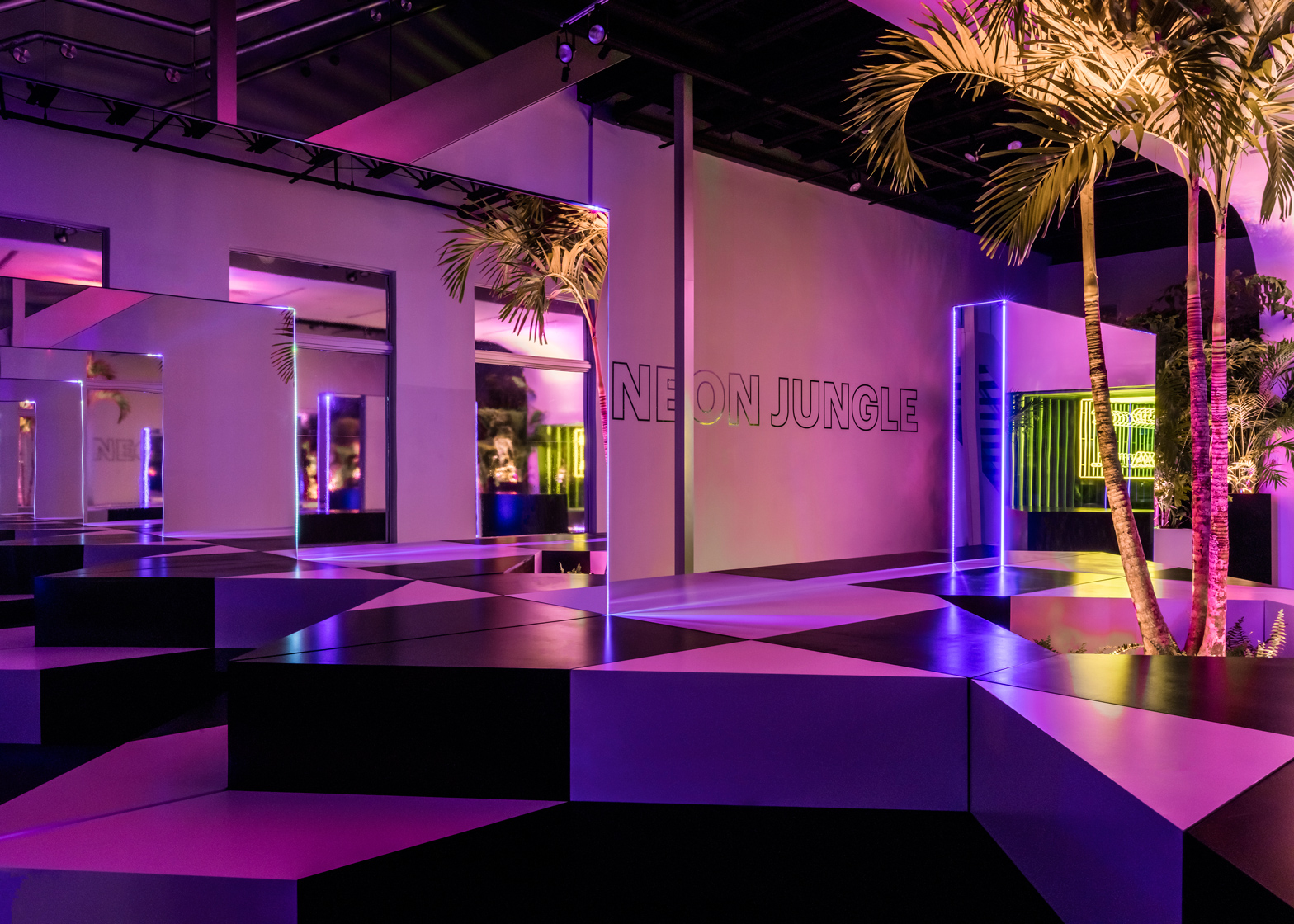 Neon Jungle installation by Rafael de Cardenas in Miami Design District