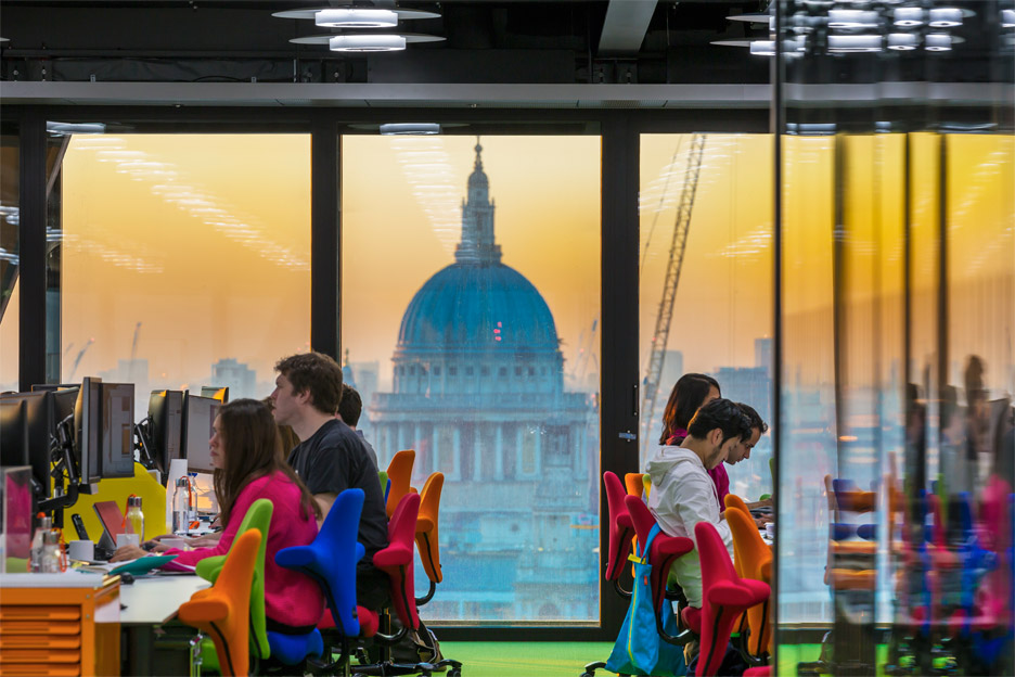 Architecture News: Rogers Stirk Harbour and Partners office interior in the Cheesegrater, Leadenhall Building London, UK