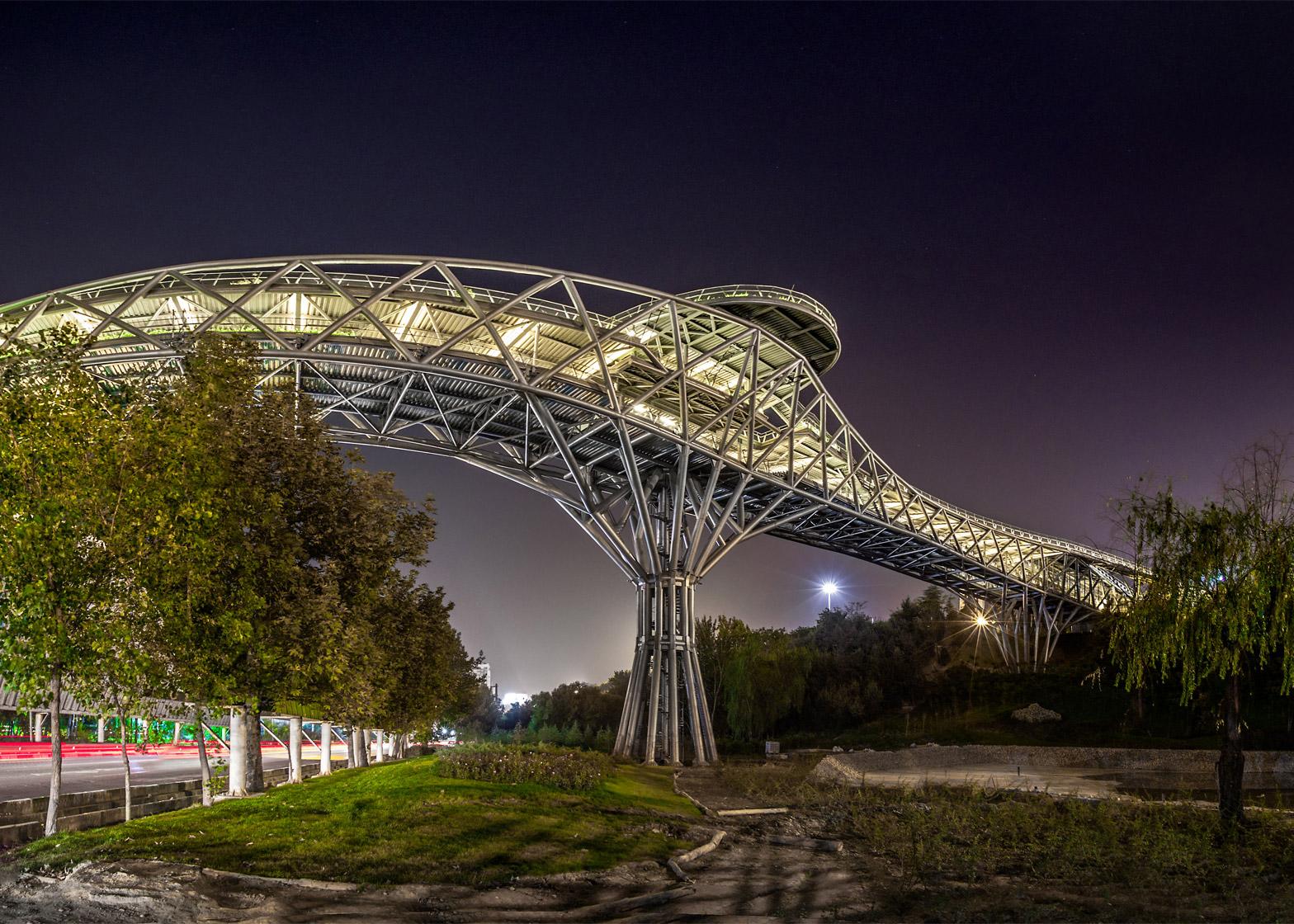 Tabiat Pedestrian Bridge, Tehran, Iran;by Diba Tensile Architecture/Leila Araghian, Alireza Behzadi