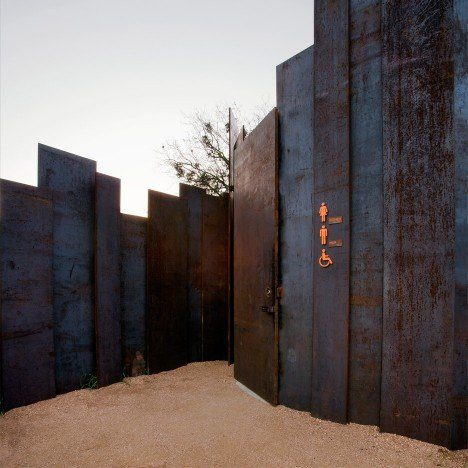 Trail Restroom by Miro Rivera Architects is a public toilet with weathering steel walls