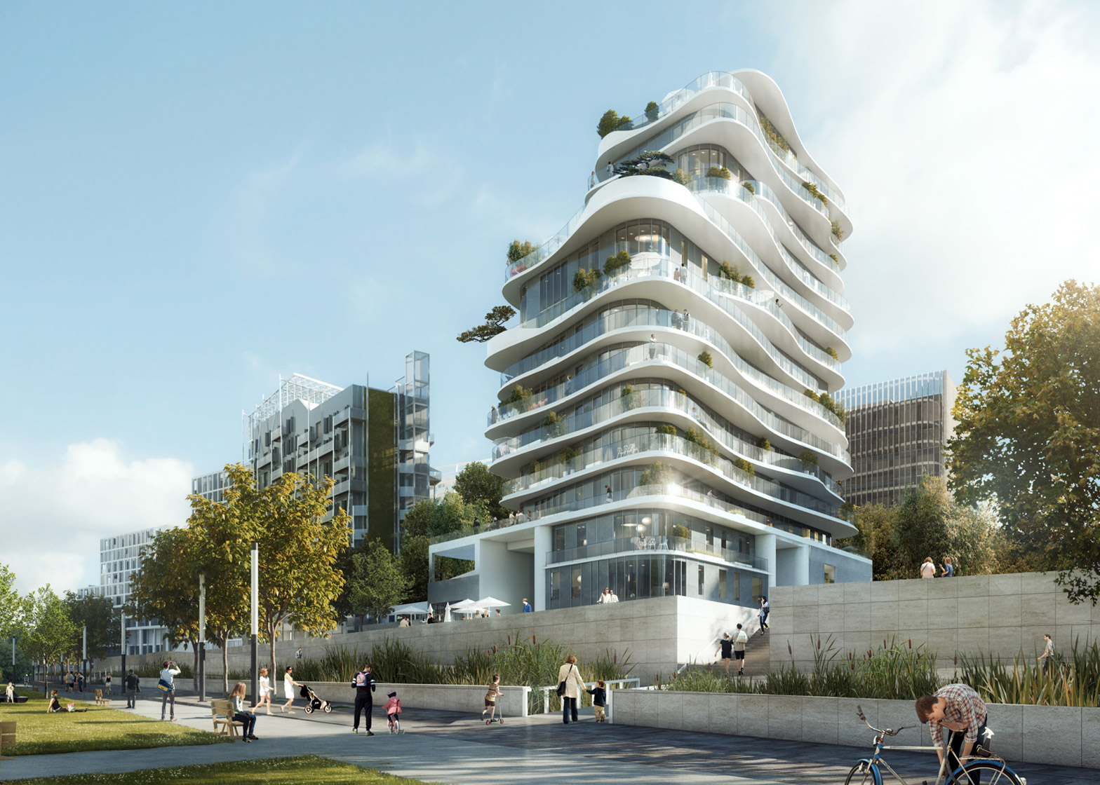 MAD unveils Parisian housing block with curvy floors and balconies