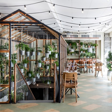 Genbyg creates indoor garden from recycled materials for Väkst Nordic restaurant