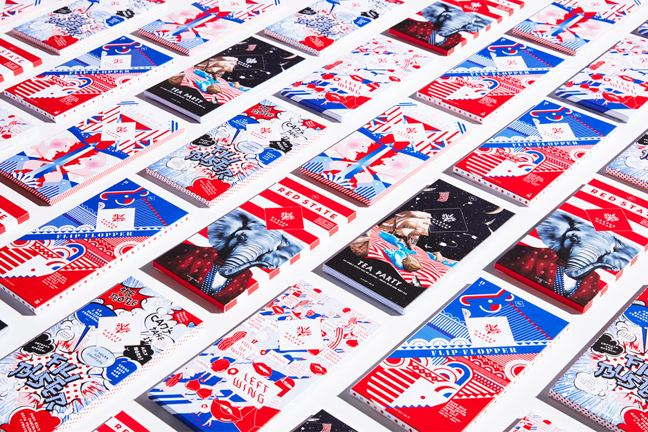 The (Very) Political Selection chocolate packaging by Design Army for Harper Macaw based on the partisan presidential election primaries