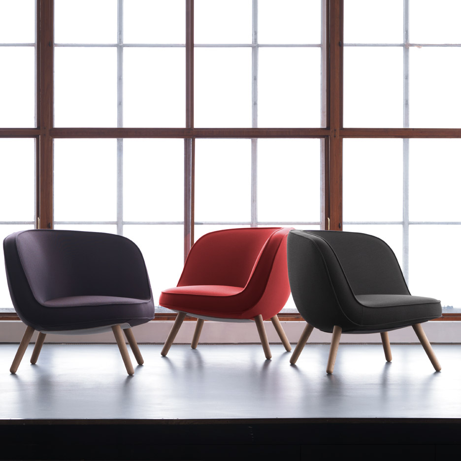 bjarke ingels designs via57 lounge chair based on his new york courtscraper sig nordal jr. Black Bedroom Furniture Sets. Home Design Ideas