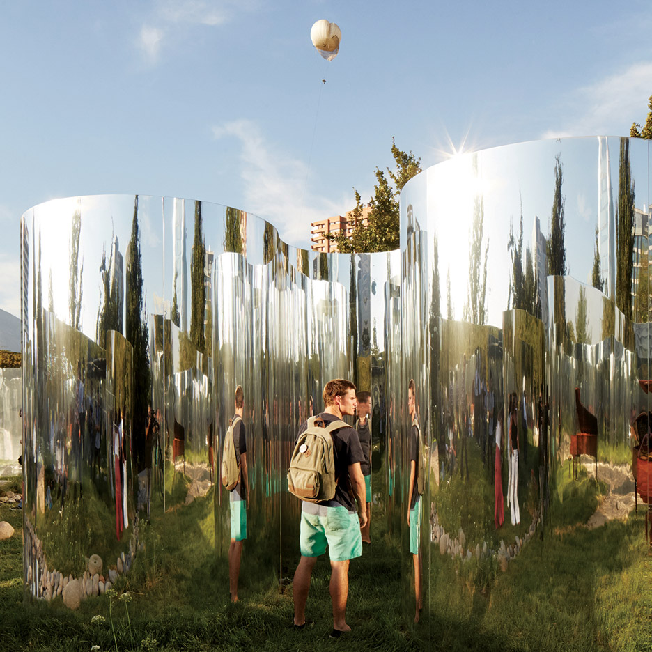 Distorting mirrors frame a secret garden in Santiago's Parque Araucano