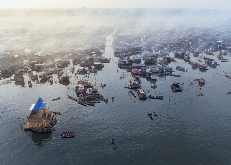 Aerial view of Makoko Floating School before its collapse