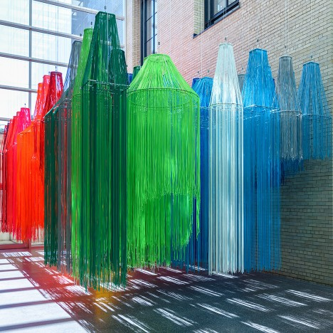 Kéré Architecture suspends colourful strings from ceiling of Philadelphia art museum