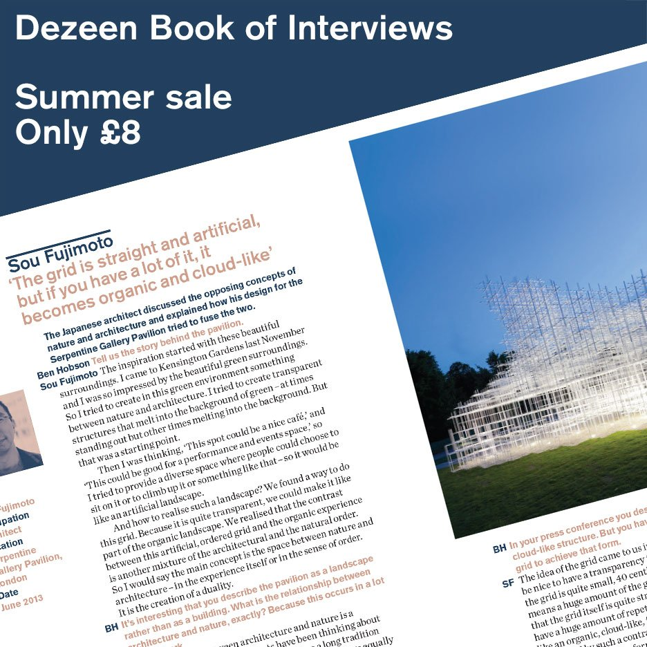Special offer! Buy Dezeen Book of Interviews for just £8 in our summer sale