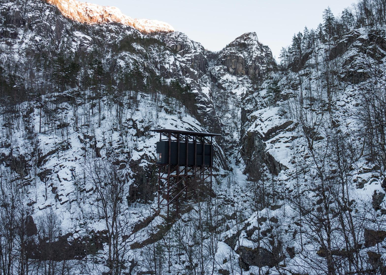 Allmannajuvet tourist route pavilion in Norway by Peter Zumthor. Photograph by Jan Andresen