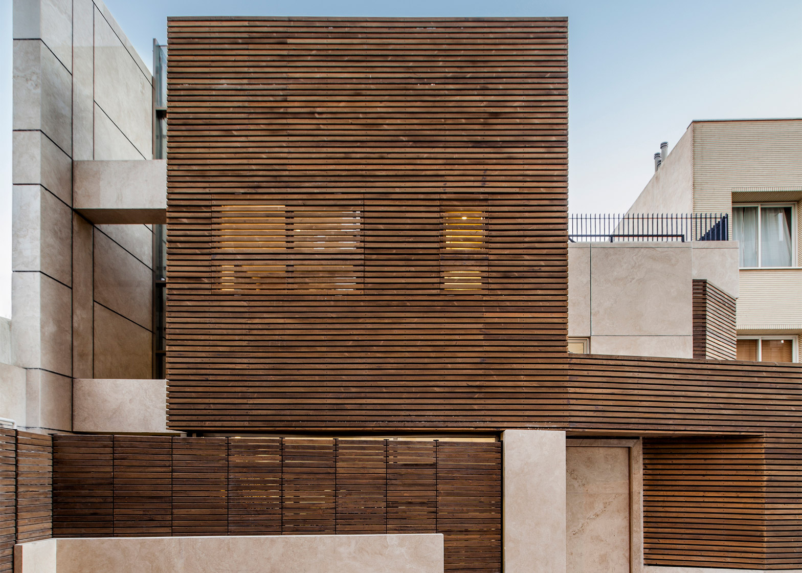 5 of 5; Bagh-Janat residential architecture with timber and travertine  cladding in Isfahan Iran by Bracket Design