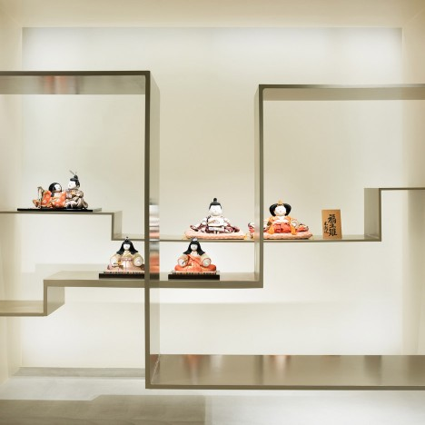 Sasaki Architecture and Atelier O design minimal gallery space for traditional porcelain dolls