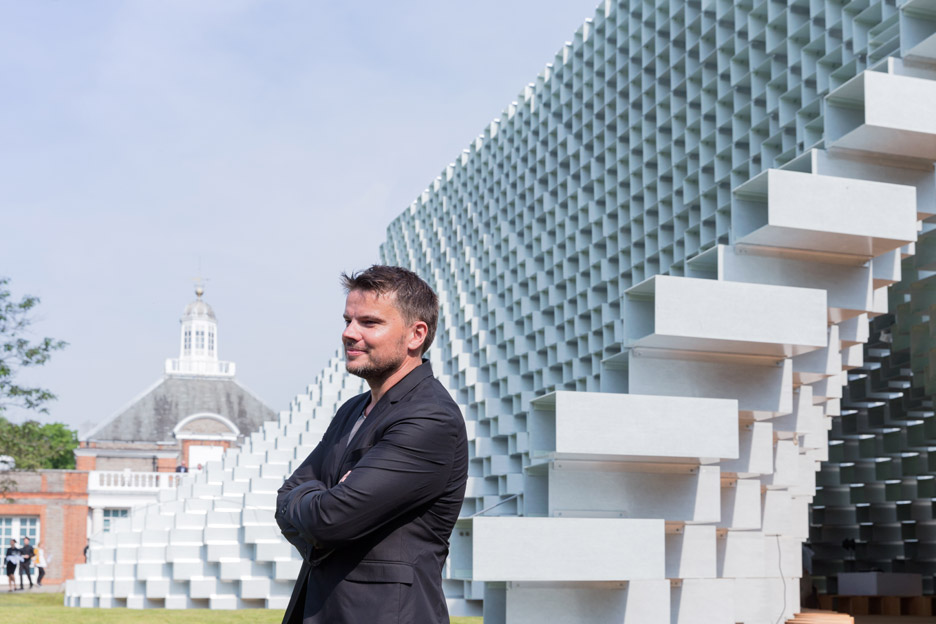 Bjarke Ingels outside his Serpentine Gallery Pavilion at the opening