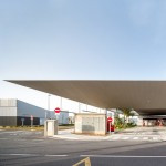 Huge slender canopy shelters passengers at Santa Pola Bus Station