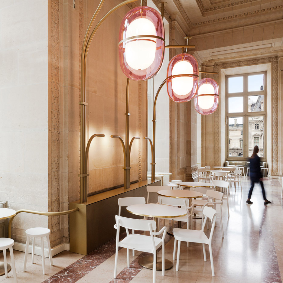 Mathieu Lehanneur adds pink light fittings to interior of Louvre's Cafe Mollien