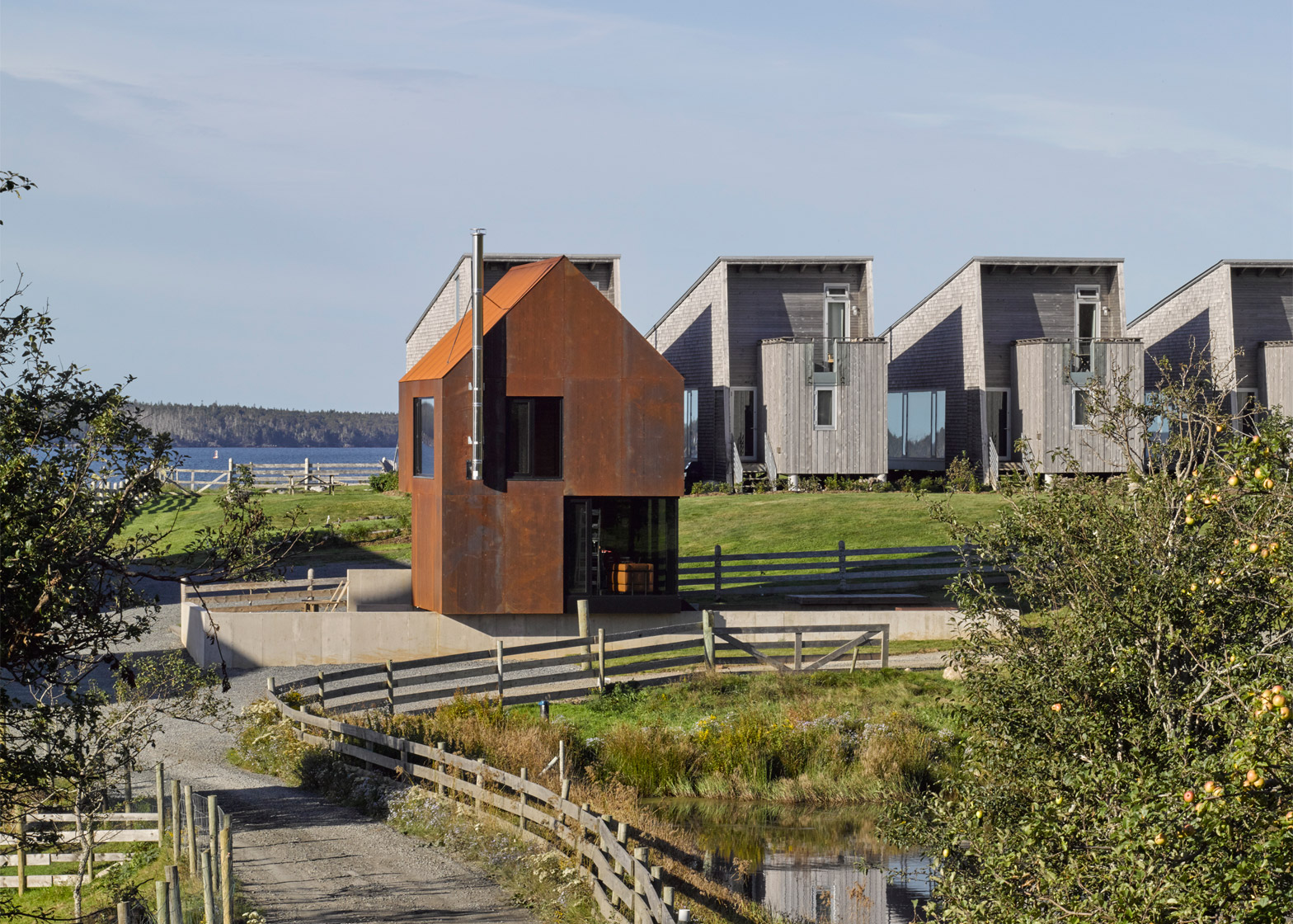 Enough house weathering steel cabin in Nova Scotia by Brian Mackay Lyons