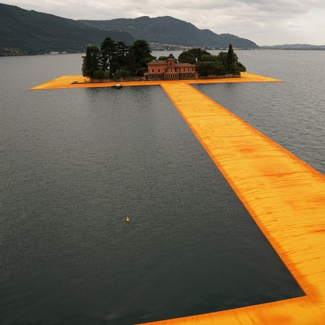 Floating piers Christo lake Iseo Italy fabric birds eye Dezeen