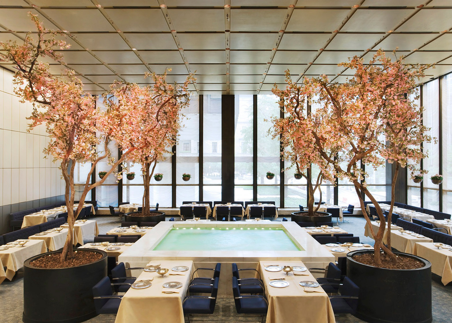 Four Seasons restaurant by Philip Johnson and Mies van der Rohe furniture auction in New York City, USA