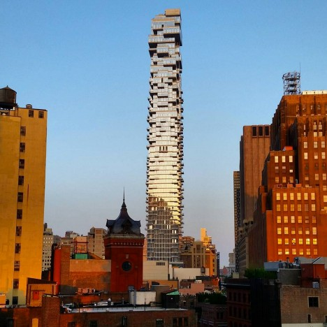 "Herzog & de Meuron's 56 Leonard ""Jenga tower"" nears completion in New York"