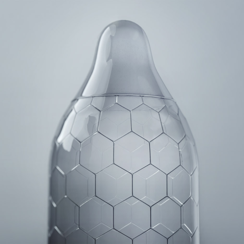 Hex condom features a tear-resistant honeycomb surface