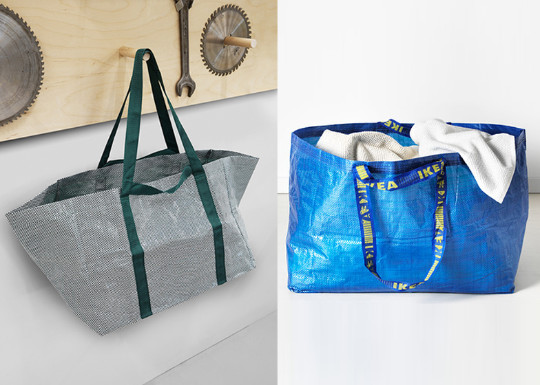 Hayu0027s redesign of the iconic Frakta bag (left) swaps bold colours for white and green tones & Hay redesigns IKEAu0027s iconic blue and yellow Frakta bag