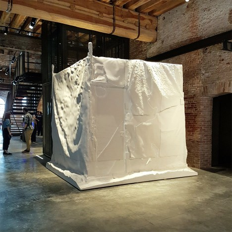 V&A features Sam Jacob's replica refugee shelter in copying exhibition at Venice Biennale