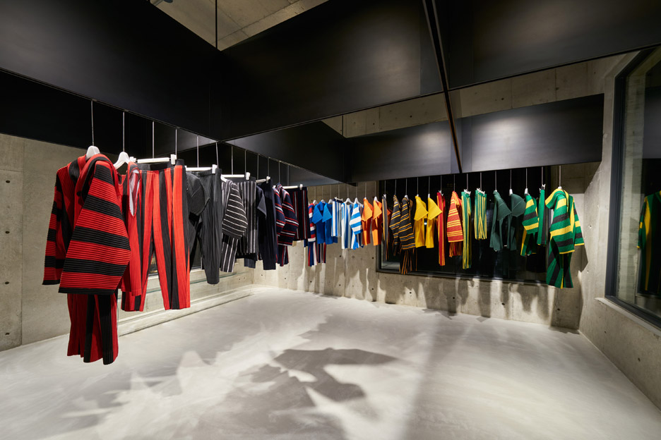 issey miyake homme plisse store by naoto fukasawa transforms a concrete building in Japan