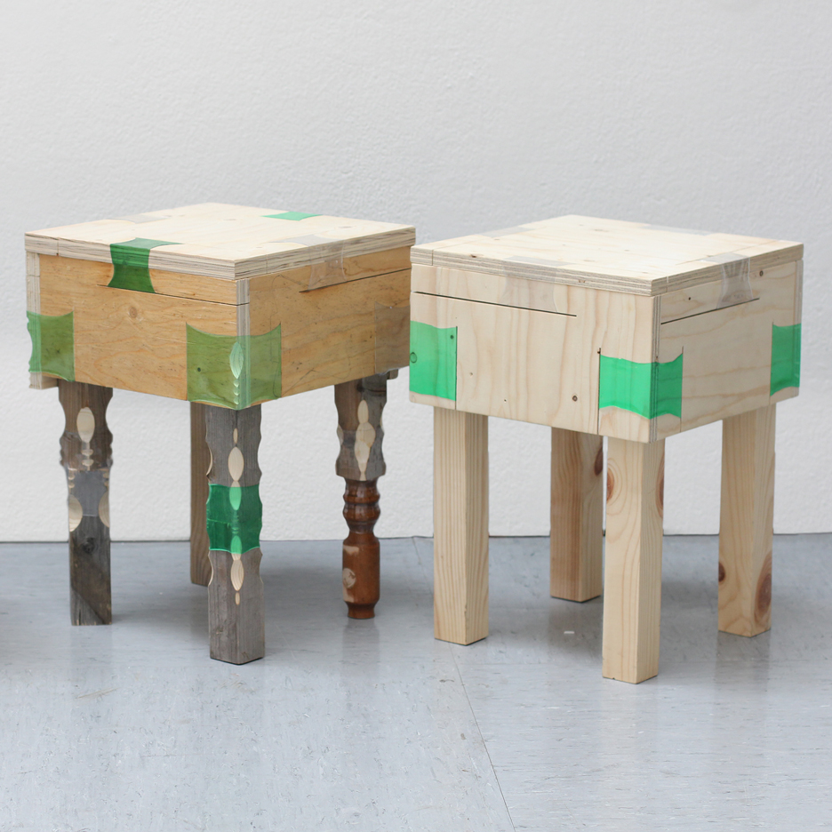 Pvc Wood Furniture ~ Micaella pedros uses heat shrunk plastic bottles to join