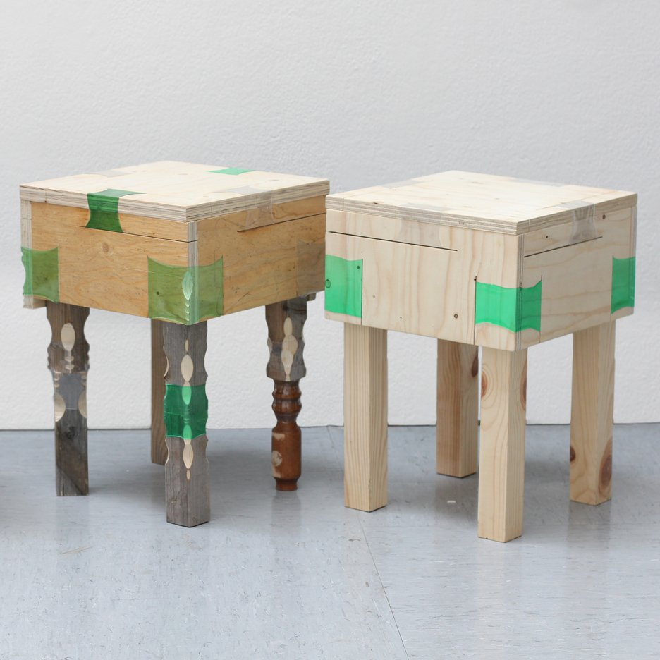 Micaella Pedros uses heat-shrunk plastic bottles to join furniture
