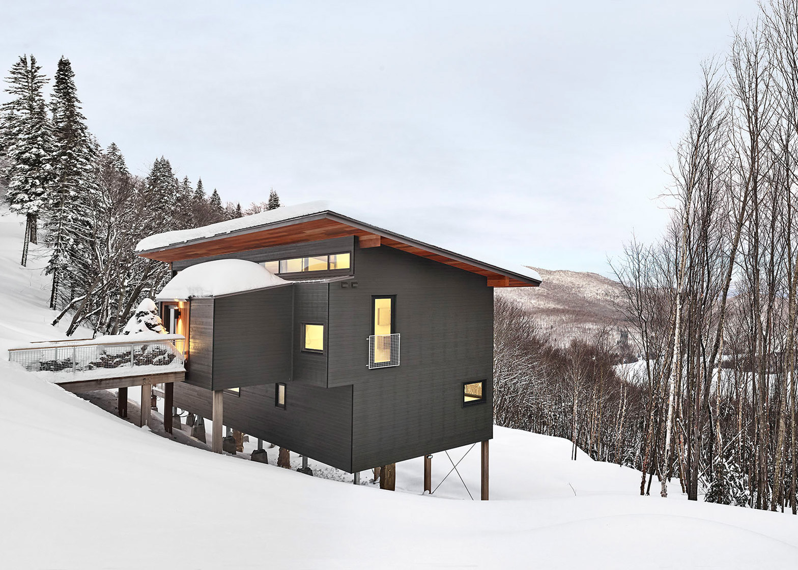 Laurentian Ski Chalet in Quebec, Canada by Robitaille Curtis architecture
