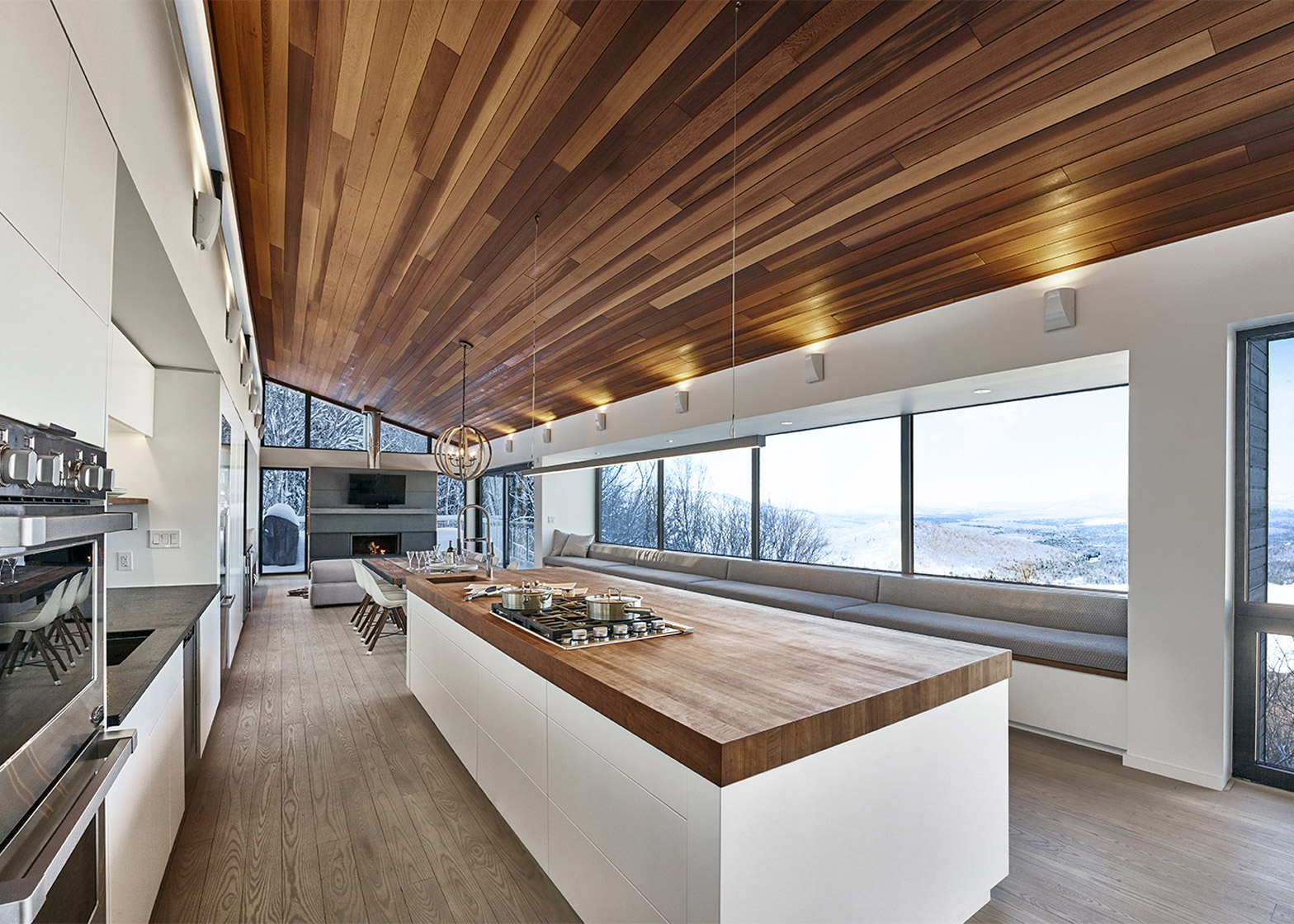 Ski Chalet Interior Design robitaille curtis places a ski chalet on a steep slope in quebec