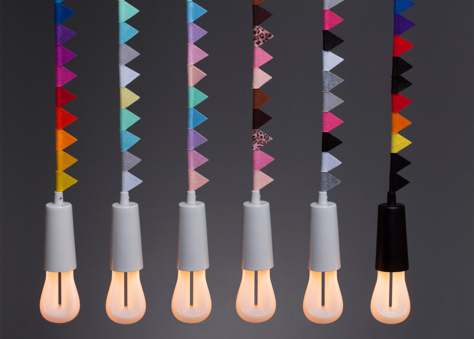 modern Family collection by Plumen adds bunting to it's classic pendant lights