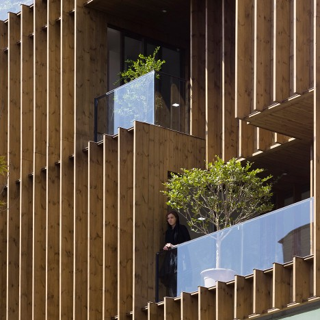 LP2 completes Tehran office block with louvred wooden facades