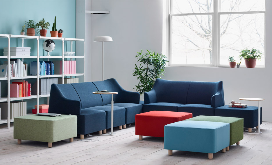 Plex modular lounge system designed by Industrial Facility for Herman Miller shown at NeoCon 2016