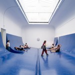 Serbian Pavilion features bright blue interior modelled on a ship's hull
