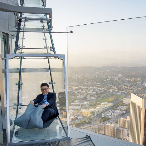 Glass Skyslide opens at the top of LA's tallest skyscraper