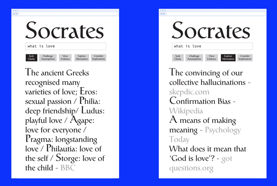 The Socrates Search Engine by Ted Hunt combines google search with Ancient questioning philosophies