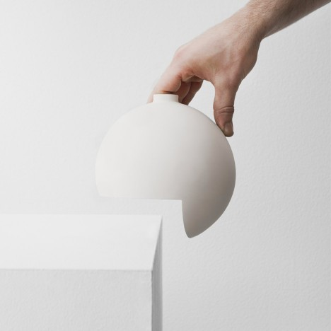 Falke Svatun's Tumble vase sits on the edge of a shelf