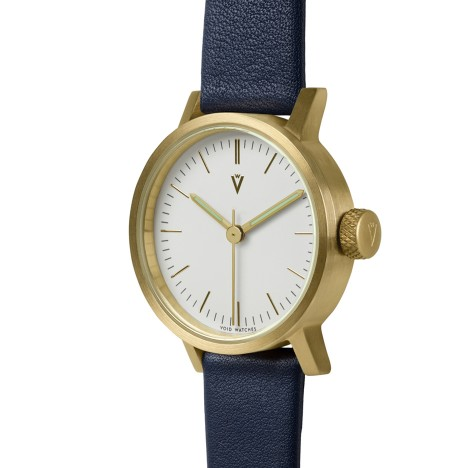 VOID's first timepiece for women arrives at Dezeen Watch Store in navy/gold